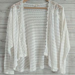 Monteau Crochet Lace Light Cardigan Sweater Ivory